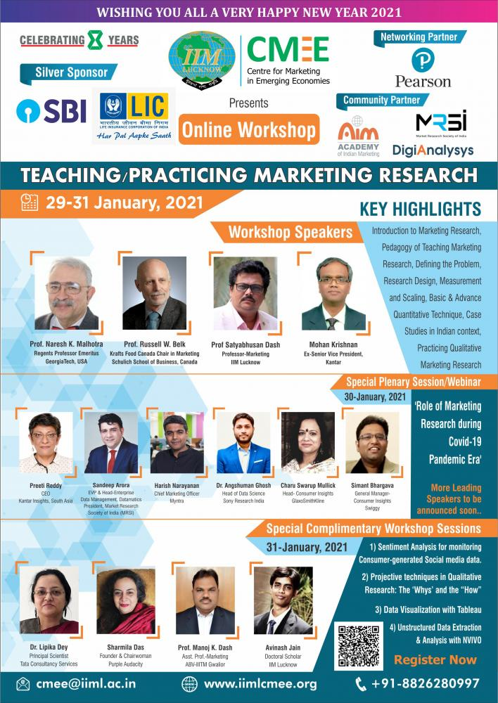 CMEE presents 2-day Online Workshop on Teaching/Practicing Marketing Research