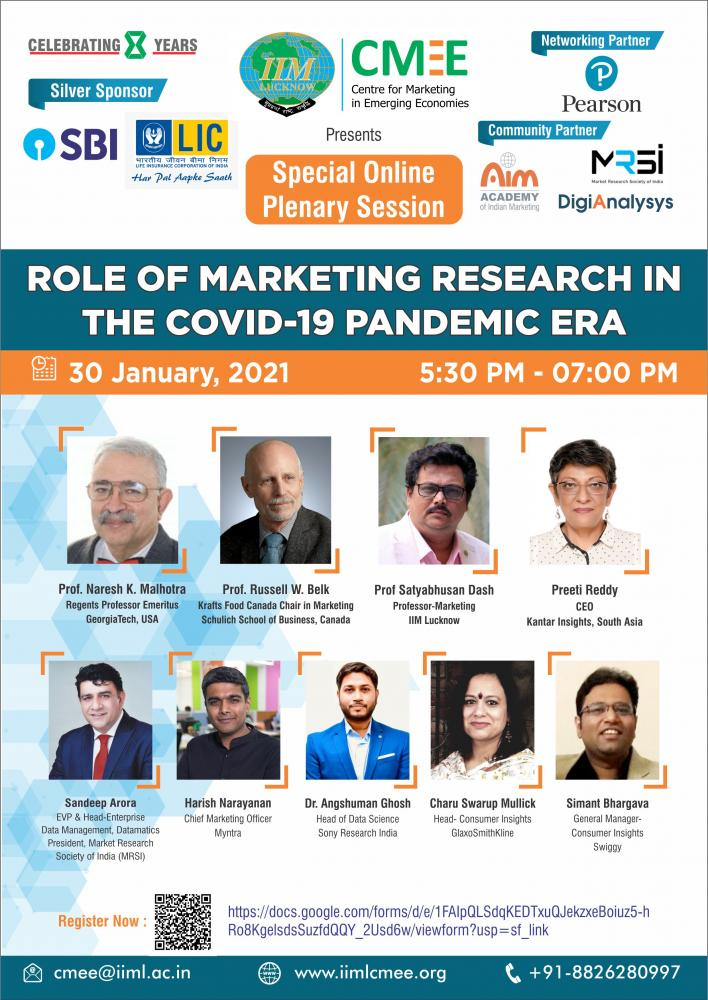 Online Plenary Session/Webinar on Role of Marketing Research in Covid-19 Pandemic Era
